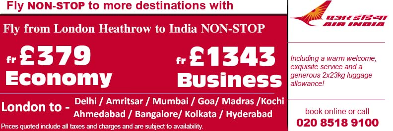 Air India Non Stop Flights to India