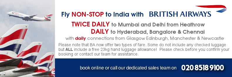 Fly Non Stop to India with British Airways